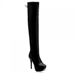 PU Stretch Over The Knee High Heel Boots