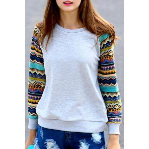 Stylish Round Neck Long Sleeve Tribal Print Women's Sweatshirt