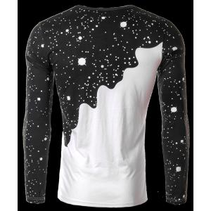 Round Neck 3D Starry and Pour Milk Print Long Sleeve Men's T-Shirt -