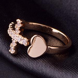 Rhinestone Heart Cross Ring - ROSE GOLD ONE-SIZE