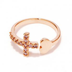 Rhinestone Heart Cross Ring - Rose Gold - One-size