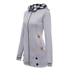 Stylish Hooded Long Sleeve Gingham Button Design Women's Hoodie - GRAY XL