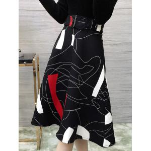 Graceful Abstract Print A-Line Women's Midi Skirt -