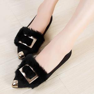 Luxury Flock and Metal Design Women's Flat Shoes -