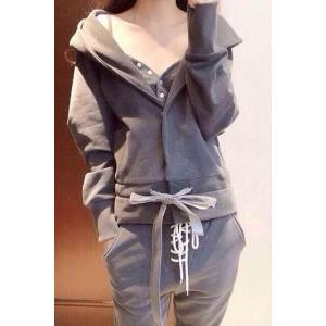 Trendy Women's Tank Top + Hooded Jacket + Pants Suit -