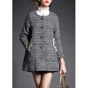 Stylish Round Neck Long Sleeve Spliced Pocket Design Women's Coat - Black - S