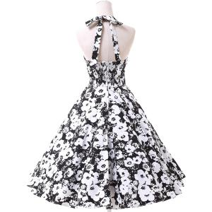 Vintage Halter Floral Printed Backless Ball Gown Midi Dress For Women - WHITE/BLACK S