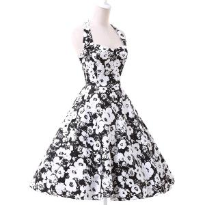 Vintage Halter Floral Printed Backless Ball Gown Midi Dress For Women - White And Black - S