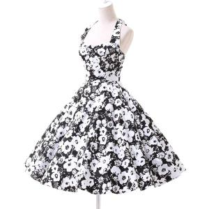 Vintage Halter Floral Printed Backless Ball Gown Midi Dress For Women -