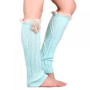Pair of Chic Flower and Lace Edge Embellished Knitted Leg Warmers For Women -