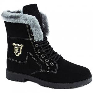 Stylish Skull and Faux Fur Design Men's Boots - Black - 44