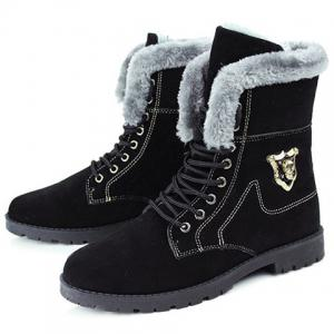 Stylish Skull and Faux Fur Design Men's Boots -