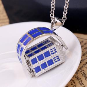 Police Box Rotatable Pendant Necklace -