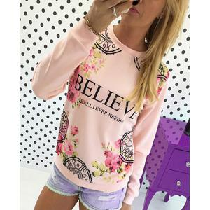 Fresh Style Jewel Neck Letter and Rose Printed Pullover Sweatshirt For Women - Pink - L