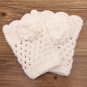 Pair of Chic Flower Shape Embellished Hollow Out Knitted Boot Cuffs For Women -