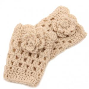 Pair of Chic Flower Shape Embellished Hollow Out Knitted Boot Cuffs For Women - Off-white - L
