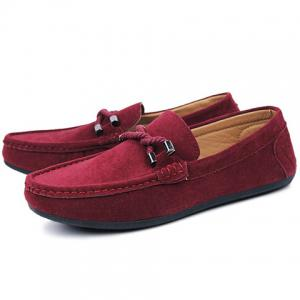 Stylish Criss-Cross and Suede Design Men's Casual Shoes - WINE RED 43