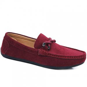 Stylish Criss-Cross and Suede Design Men's Casual Shoes - Wine Red - 44