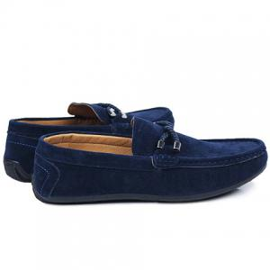 Stylish Criss-Cross and Suede Design Men's Casual Shoes - BLUE 42