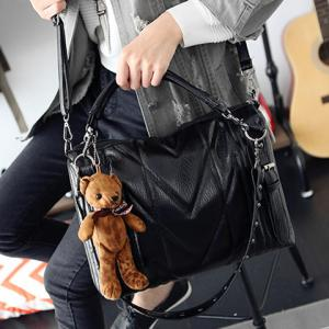 Sweet Bear Pendant and Rivets Design Women's Crossbody Bag -