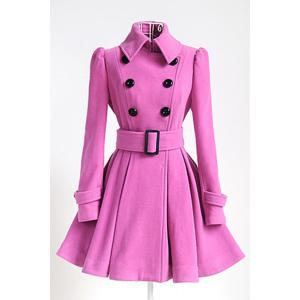 Fit and Flare Double Breasted Coat - Pink - S