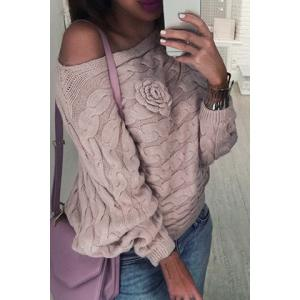 Slash Neck Cable Knit Jumper Sweater