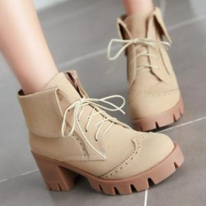 Engraving Suede Chunky Heel Ankle Boots -