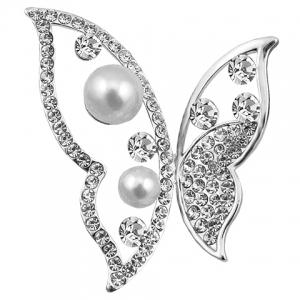 Hollow Out Rhinestoned Faux Pearl Butterfly Brooch -