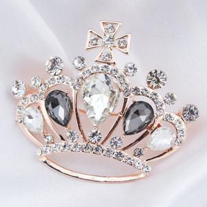 Crown Shape Rhinestoned Faux Crystal Brooch -