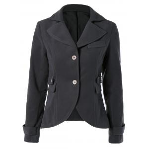 Vintage Lapel Buttoned Elbow Faux Leather Spliced Swallow-Tailed Jacket For Women - Deep Gray - Xl