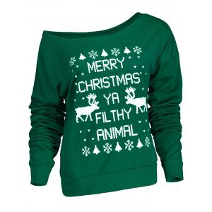 Fresh Style Letter and Snowflake Print Pullover Christmas Sweatshirt For Women - Green - Xl