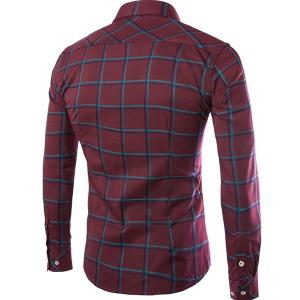 Classic Color Block Plaid Print Shirt Collar Long Sleeves Slimming Men's Button-Down Shirt - RED L