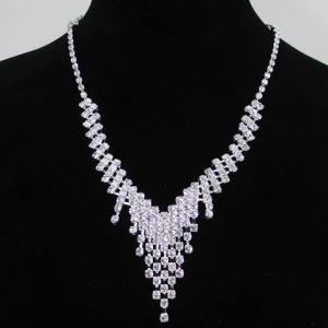 A Suit of Alloy Rhinestoned Tassel Necklace and Earrings - SILVER
