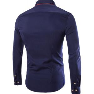 French Front Classic Color Block Slimming Shirt Collar Long Sleeves Men's Button-Down Shirt -