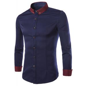 Color Block Shirt Collar Brooch Embellished Long Sleeves Slimming Men's Button-Down Shirt