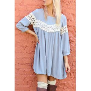 Sweet Scoop Neck 3/4 Sleeve Crochet Lace Spliced Dress For Women - Light Blue - Xl