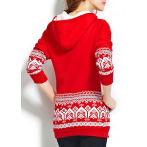 Chic Style Hooded Long Sleeve Pocket Design Christmas Hoodie For Women -