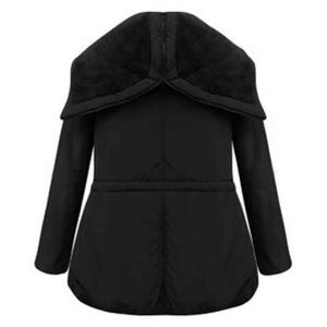 Chic Style Turn-Down Collar Long Sleeve Black Drawstring Coat For Women -