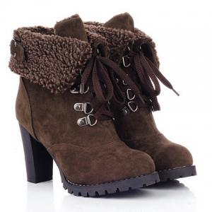 Suede Chunky Heel Booties - Deep Brown - 38