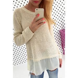 Stylish Scoop Neck Long Sleeve Chiffon Spliced Sequined Women's Sweater - White - Xl