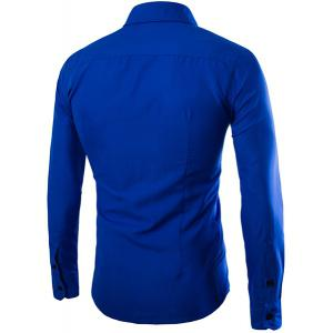 Color Block Striped Button Fly Flap Pocket Shirt Collar Long Sleeves Men's Slimming Shirt - BLUE L
