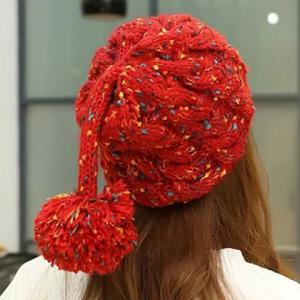 Ball Pendant Knitted Beanie Acrylic Hat -