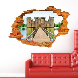 Personalized 3D Old Castle Style Removable Wall Stickers Colorful Room Window Decoration -