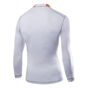 Necessary Round Neck Special Stripes Print Color Spliced Long Sleeves Men's Sweat Dry Tight T-Shirt - WHITE M