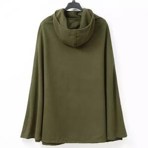 Hooded Solid Color Slit Clock Wool Cape -