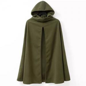 Hooded Solid Color Slit Clock Wool Cape