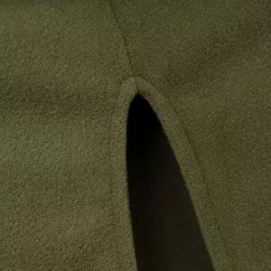 Hooded Solid Color Slit Clock Wool Cape - ARMY GREEN XL