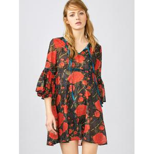 3/4 Sleeve Floral Smock Blouse - Red - L
