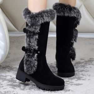 Fashionable Faux Fur and Flock Design Women's Mid-Calf Boots -