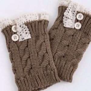 Pair of Chic Button and Lace Embellished Hemp Flowers Knitted Boot Cuffs For Women -